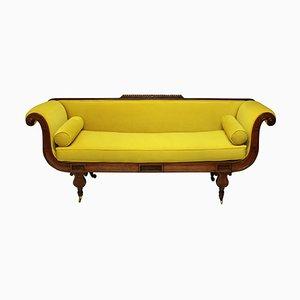 Antique Regency Chartreuse Velvet Sofa