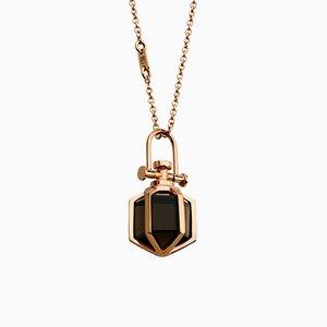 Moderne Heilige Minimalist 18k Fest Rose Gold Mini Six Senses Talisman Halskette Halskette mit natürlichen Rauchquarz von Rebecca Li