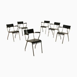 Plywood, Metal and Plastic Chairs, Italy, 1930s, Set of 6