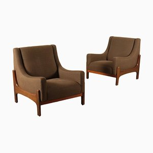 Stained Beech Wood Armchairs, Italy, 1960s, Set of 2
