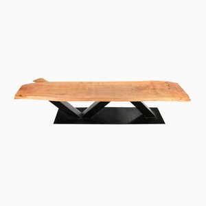 Large Wooden Table with Steel Feet