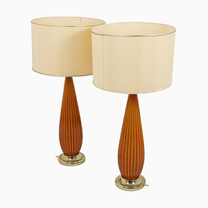 Ribbed Glass and Gilt Brass Table Lamps, 1950s, Set of 2
