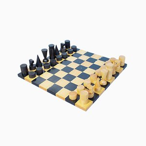 Hard Carved Ebony Chess & Draughts Set by Ghisó for Dunhill