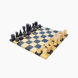 Set scacchi e scacchi in ebano intagliato di Ghisó per Dunhill