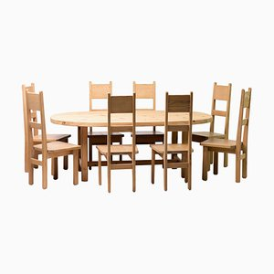 Oregon Pine Dining Set by Carl Malmsten, Set of 9