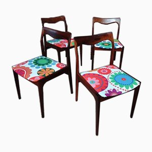 Danish Rosewood Chairs by N.O. Moller, Set of 4