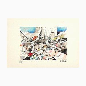 Giuseppe Megna - the Collapse - Original Lithograph - 1970s