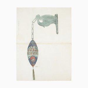 Sconosciuto - Lampada - Inchiostro e acquerello originali - fine XIX secolo