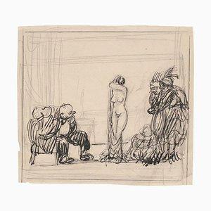Gabriele Galantara - Satiric Scene for L'asino - Pencil and Ink - Early 20th Century