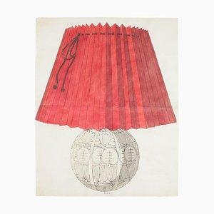 Unknown - Lampada in porcellana - Acquarello e inchiostro originali - fine XIX secolo