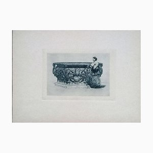 Luca Beltrami - Well of the Ducal Palace - Original Etching on Cardboard - 1877