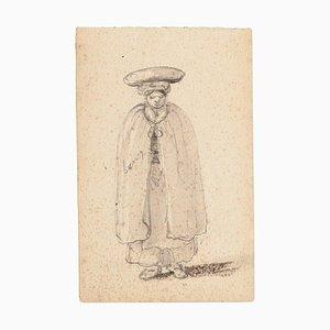 Unknown - Man with Headdress - Original Bleistiftzeichnung - 1880er