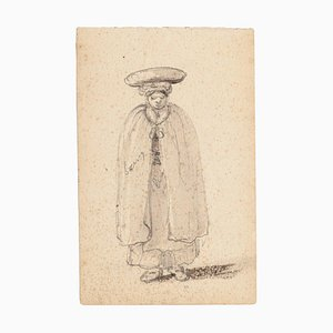 Unknown - Man with Headdress - Original Pencil Drawing - 1880s