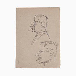 Gabriele Galantara - Figuren - Original Bleistiftzeichnung - Frühes 20. Jahrhundert