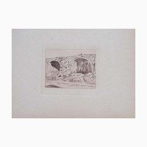 Luca Beltrami - Maintenon Aqueduct - Original Etching on Cardboard - 1877