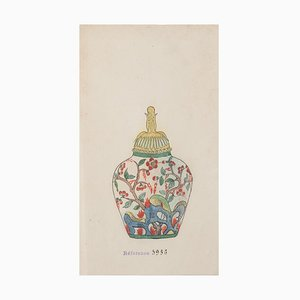 Gabriel Fourmaintraux Porzellanvase - Original Tinte & Aquarell aus China