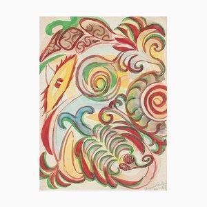 Composition Jean Delpech - Composition Abstraite - Aquarelle Originale sur Papier - 1965