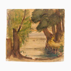 Jean Delpech - Landscape - Original Watercolor on Cardboard - 1947
