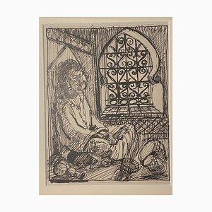 Helen Vogt - Interior In Morocco - Crayon Original et Encre de Chine - 1950s