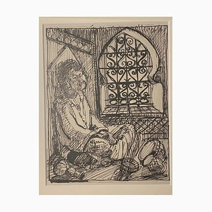 Helen Vogt - Interior In Morocco - Original Pencil and China Ink - 1950s