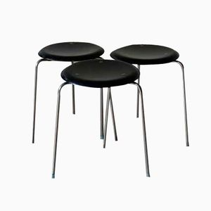 Metal and Wood Black Stools by Arne Jacobsen for Fritz Hansen, Set of 3