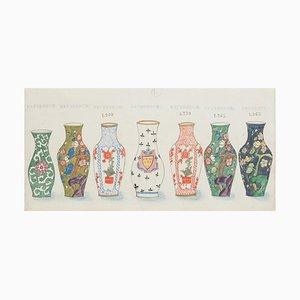 Unknown - Russian Vases - Aquarelle Originale et Encre de Chine - 1880s