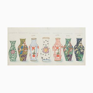 Unknown - Russische Vasen - Original Aquarell und China Tinte - 1880er