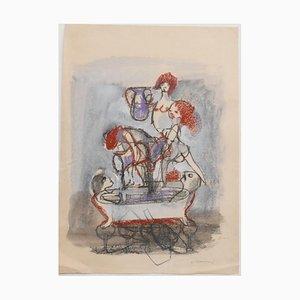 Mino Maccari - Polygamy - Original Pastel and Pencil - 1960s