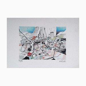 Giuseppe Megna - the Junkyard - Original Lithograph on Paper - 1960s