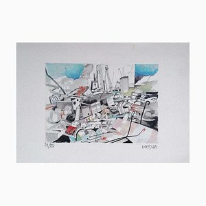 Lithographie Originale sur Papier - Giuseppe Megna - the Junkyard - 1960s