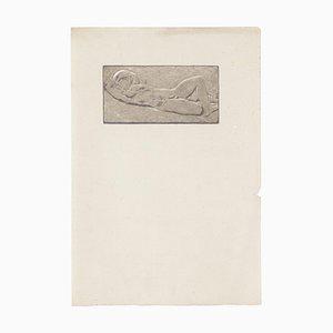Unknown - Hockende Frau - Original Bleistiftzeichnung - Frühes 20. Jahrhundert