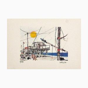 Lithographie Originale Joseph Megna - Networks In Fiumicino - 1970