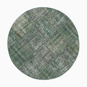 Vintage Blue Round Patchwork Rug