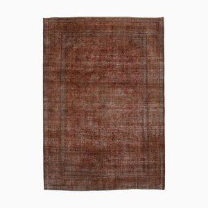 Large Vintage Brown Overdyed Area Rug