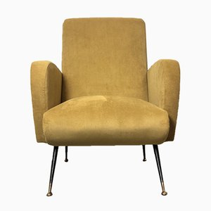 Italian Yellow Microvelvet Armchair with Brass Feet by Marco Zanuso, 1950s