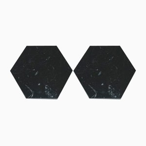 Hexagonal Black Marble Coasters With Cork from Fiammettav Home Collection, Set of 2