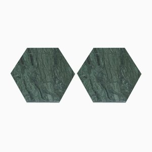 Hexagonal Green Marble Coasters With Cork from Fiammettav Home Collection, Set of 2