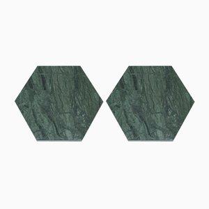 Sechseckige Grüne Marmor Untersetzer mit Korken von Fiammettav Home Collection, 2er Set