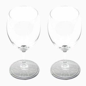 Abgerundete Marmor Untersetzer in Weiß & Grau mit Korken von Fiammettav Home Collection, 2er Set