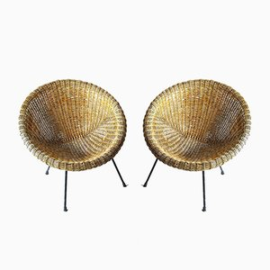 Italian Rattan Egg Chairs, 1950s, Set of 2