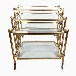 Brass Nesting Tables / Serving Trolleys, Italy, 1950s, Set of 3
