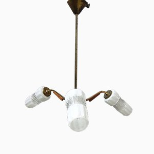 Mid-Century Brass, Teak and Glass Ceiling Lamp