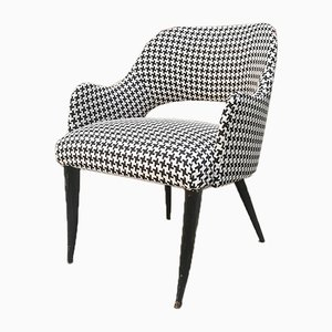 Mid-Century Modern Italian Houndstooth Lounge Chair, 1960s
