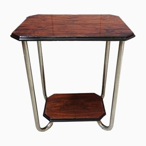 Walnut Veneer Side Table with Nickel-Plated Tubular Steel Frame, 1930s