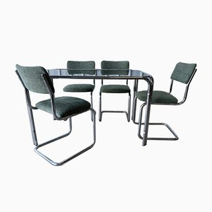 Mid-Century Smoked Glass Chrome Dining Table & Chairs Set, Set of 5