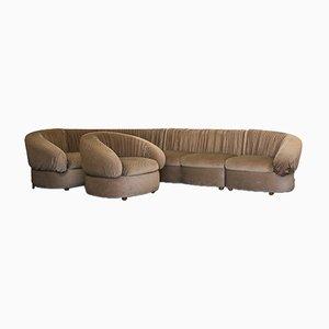 Velvet Modular Sofa and Armchair, 1970s, Set of 5