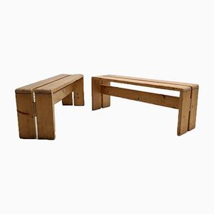 Mid-Century Les Arcs Benches by Charlotte Perriand, Set of 2