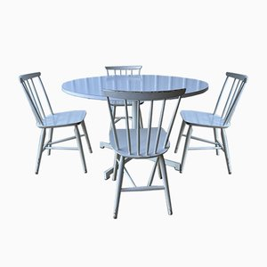 Large Round Vintage Pedestal Dining Table & Chairs Set from Kandya, Set of 5