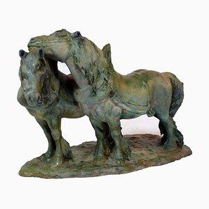 Italian Pottery Ceramic Horses Sculpture by Guido Cacciapuoti, 1920s