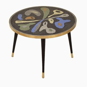 Mid-Century Handcrafted Ceramic Tile Mosaic, Brass and Wood Coffee Table, 1950s